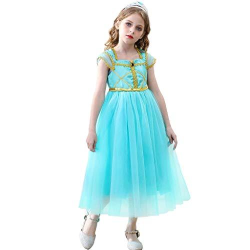 Lito Angels Disfraz de princesa de jazmn para nias pequeas, disfraz de danza del vientre con diadema de 2 a 4 aos, color verde 271
