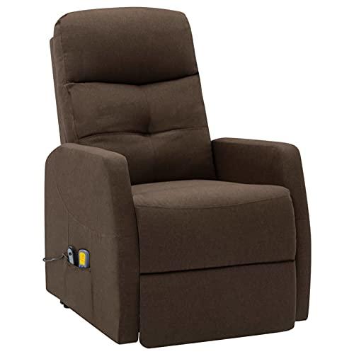 Tidyard Sillón de Masaje reclinable Sillón reclinable butaca de Tela marrón 66 x 91 x 107 cm