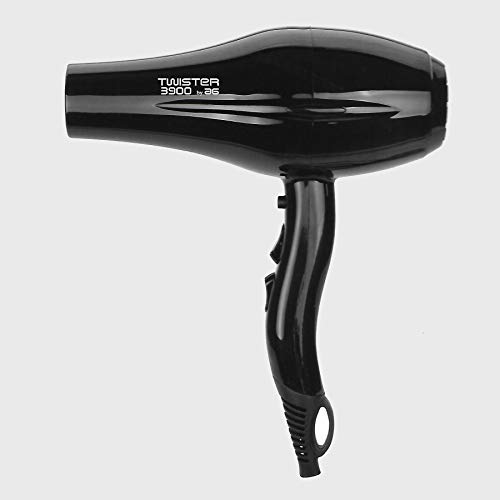 Asuer Group Secador de pelo Twister 3900 Ionic 2200W - Secador profesional iónico turmalina cerámica, color negro - Incluye difusor y 2 boquillas   3.000.000 iones/seg/cm³