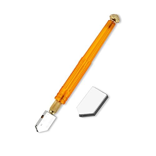ZDSS Cortavidrio de Vidrio Lubricado de Duradero con Empuñadura Estilo lápiz,Rueda de Cuchillo de aleación,Mango de plástico Amarillo,Utilizado principalmente para Cortar Vidrio
