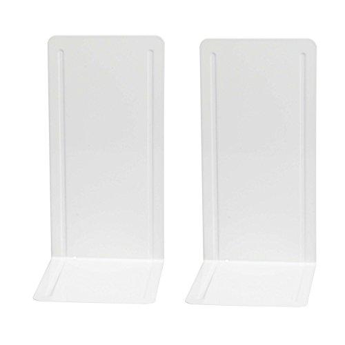 Wedo 1021200 Buchstütze (aus Metall, hohe Ausführung mit Verstärkungsrillen, 14 x 12 x 24 cm) 2 Stück, weiß