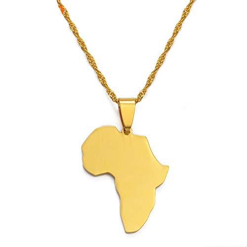 Africa Mapa Establece Colgante Collar Y Pendientes Oro Color/Plata Color Africano Mapas Joyería Conjunto para Las Mujeres Gitl
