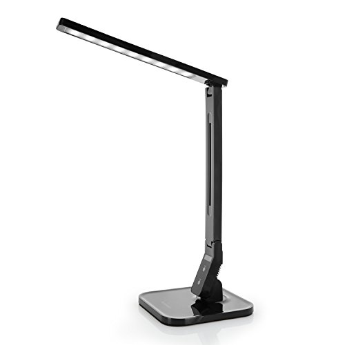 Tenergy 7W Dimmable LED Desk Lamp, 530 Lumens with 5 Dimming Levels, Touch Control with Auto Shut-Off Timer, Eye Protection Foldable Table Light for Home and Office