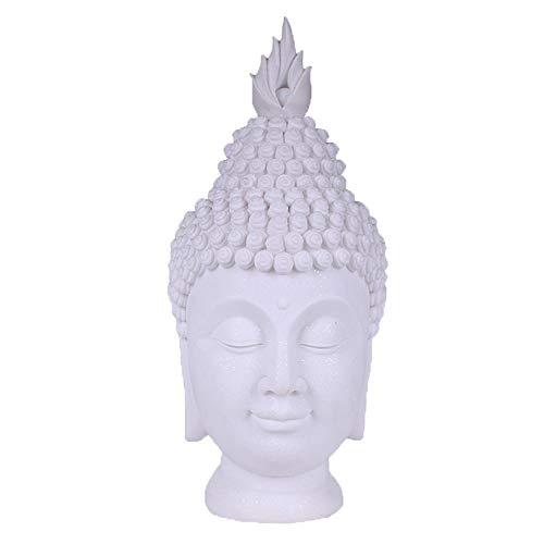 GAOPENG Buddha Kopf Wohnzimmer Dekoration, Meditation Yoga Dekoration, Home Decoration Skulptur, Buddha Statue Sammlung, Sandstein Harz Dekoration (17 X 17 X 34 cm),Whitesandstone