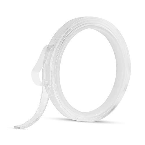 Fesjoy 1m / 3.3ft Cinta adhesiva de doble cara lavable sin tracible Reutilizable, antideslizante, transparente, Nano Gel, cinta, almohadilla, 2 mm, espesor, adhesivo, adhesivo, tiras pegajosas, agarre