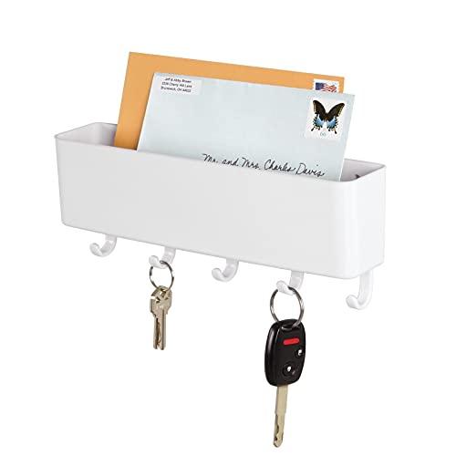mDesign Colgador de llaves con repisa - Estante de pared para ordenar llaves con 5 ganchos - Moderno cuelga llaves con organizador de cartas, lentes, celulares y más - blanco