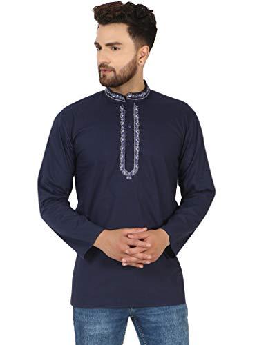 SKAVIJ Camisa Corta Kurta De Algodón para Hombre, Túnica De Cuello Redondo, Ajuste Regular (Azul, XL)