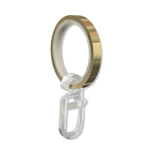 INTERDECO Gardinenstangen Ringe mit Gleiteinlage und Faltenhaken, Gardinenringe in Messing Optik für 20 mm Ø (20 Stück)