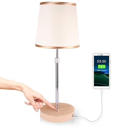 Nachttischlampe Touch Dimmbar,JOWHOL Schlafzimmer Tischlampe,LED Holz-Tischleuchte mit USB Port,Vintage Deko Lampe für Kinderzimmer,Wohnzimmer,Fensterbank
