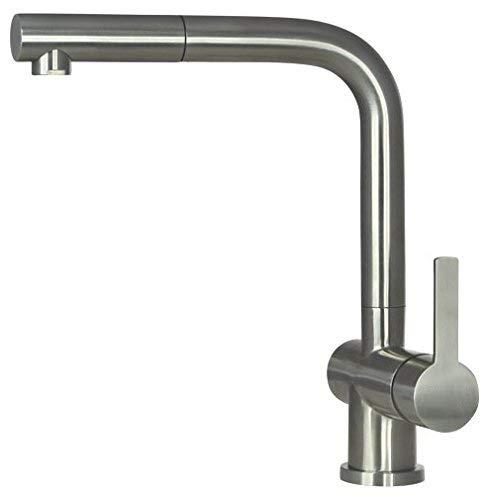 RVS keukenkraan RVS uittrekbaar, 100% roestvrij staal, keukenmengkraan, hogedrukarmatuur, keuken, spoelkraan, keuken met ACS-certificaat hendel roestvrij staal… (RVS)