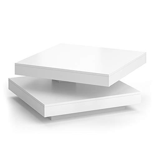 Vicco Couchtisch Elias 360° drehbar 70 x 70 x 34 cm Wohnzimmertisch Tisch (Weiß)