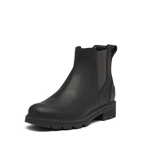 SOREL Women's Lennox Chelsea Rain Boot — Black — Waterproof Leather Boots — Size 7.5