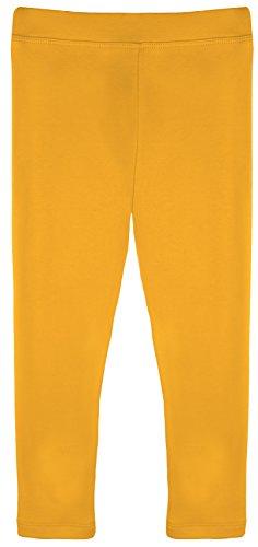 Lilax Girls' Basic Solid Full Length Leggings 4T Mustard