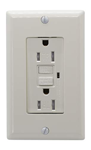 20a Temper Resistant GFCI Outlet, Ground Fault Circuit Interrupter, Self Test 20 Amp Weatherproof Outdoor GFI Receptacle With Decora Cover Plates, UL Listed, (201602-White)