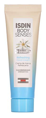 ISDIN BodySenses Crème pour les mains, gamme rafraîchissante avec fleur d'Edelweiss Alpina, hydrate votre peau de sensations – 30 ml