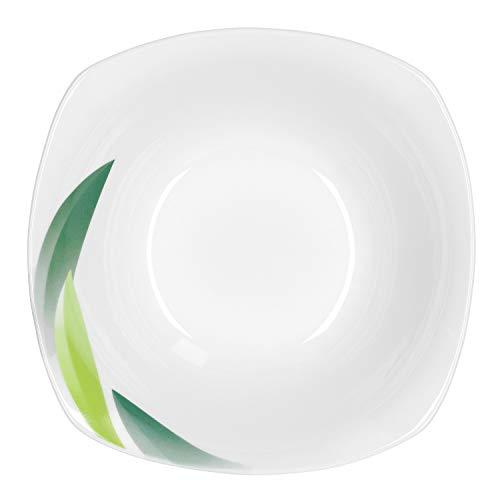 Van Well | Mueslischaal Siena | 250-350 ml | Serveerschaal | schaaltjes voor soep, salade, snacks en dessert | bladdecoratie groen | edel porselein