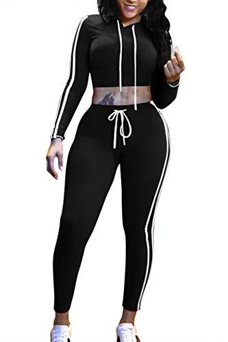Pink Queen Womens Long Sleeve Side Stripe Crop Top + Tights 2 Piece Yoga Set,Black, Medium