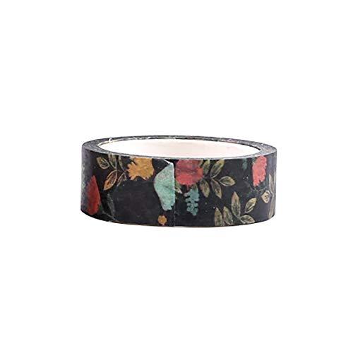 Kanggest. Cinta de Papel Washi Cinta Adhesiva Decorativa para Decoración DIY Scrapbooking Craft Embalaje de Regalo, 1.1cm x 700cm, Broche de Flores