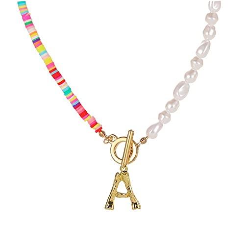 Mountainsea Collar de perlas de simulación para mujer, nombre de la joyería de bambú dorado con iniciales del alfabeto inglés (color de la piedra principal: D, color metálico: TAUAM993)