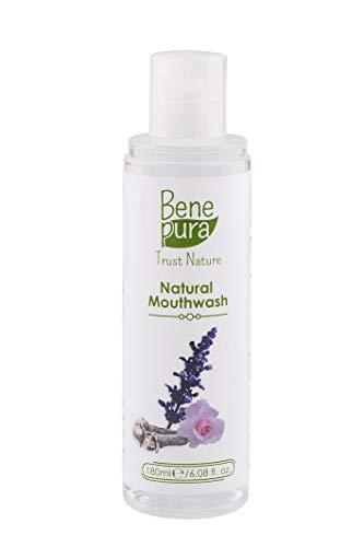 BenePura 100% Natuurlijk Mondwater 180ml - Alcohol & Fluoride Vrij - Rozenwater en Etherische Oliën - Antibacteriële en Antiseptische Werking - Verfrist de Adem en Versterkt het Tandvlees