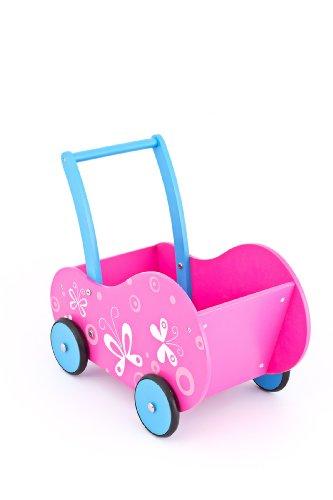 United Kids 13016-05 Puppenwagen/Lauflernwagen Marie aus Holz, rosa
