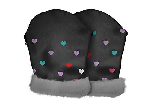 Tris&Ton - Guanti impermeabili invernali per passeggino, in pile antivento, per passeggino (Tris & Ton) (Love)