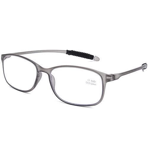DOOViC Blaulichtfilter Computer Lesebrille Eckig Rahmen Grau Brille mit Stärke Lesehilfe/Sehhilfe für Damen/Herren 1,75