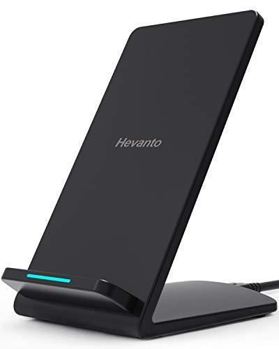 Hevanto ワイヤレス充電器 Qi認証 急速ワイヤレスチャージャー Quick Charge 2.0 / 3.0 急速無線充電スタンド 置くだけ充電 2つのコイル iPhone 11 / 11 Pro / 11 Pro Max / XS / XS Max / XR / X / 8 / 8 Plus Samsung Galaxy LG Xperia Galaxy S10 / S10 Plus / S9 / S8 / S7 / S7 Edge / Note7 Nexus 456他Qi機種対応 10W 7.5W高出力qi充電器 USBケーブル 日本語取扱説明書付 ブラック