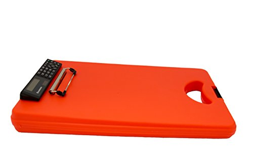 Saunders DeskMate II with Calculator 00543 Plastic Storage Clipboard - Orange, Letter Size, 10 in. x 16 in. Document Holder with Internal Storage
