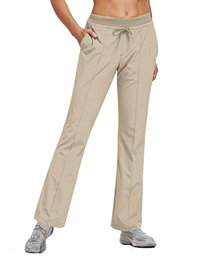 BALEAF Women's 30 Inches Bootcut Hiking Pants Quick Dry Lightweight Stretch Pants UPF 50+ Water Resistant Khaki Size L