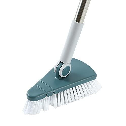 NGLSCXR Cepillo de fregado de piso giratorio escalable, brocha de limpieza de mango largo, cepillo de limpieza con cabeza de triángulo removible, cepillo de fregado de piso de azulejos con mango largo