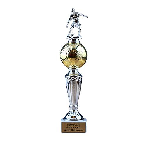 Pokal Fußball mit Gravur - Geschenk individuell personalisiert für Frauen und Männer – Torschützenkönig Siegerfigur mit Champion Emblem 31 cm hoch