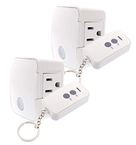 Westek Remote Outlet Switch for Indoor Devices, 2 Pack – Create a Wireless Remote Control Electrical Outlet Switch for Lamps, Stereos and Christmas Lights – Works Up to 100 Feet – RFK1606LC