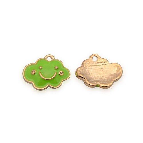 Enamel & Alloy Cloud Charm Pendants Rose Gold/Lime Green 11 x 14mm 5 Packs of 2