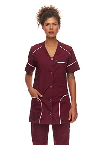 Mazalat Kasack Damen Pflege, Medical Schlupfjacke, Kurzarm Schlupfkasack, Made in EU medizinische Arbeitskleidung, Altenpflege Kleidung, Medical uniform (Bordeaux, L)