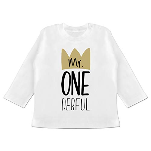 Geburtstag Baby - Mr One Derful - 12/18 Monate - Weiß - BZ11 - Baby T-Shirt Langarm