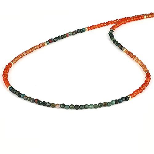 NirvanaIN - Impresionante collar de cuentas redondas facetadas (2 mm) de plata 925 con cierre chapado en oro amarillo para mujeres, cumpleaños, Navidad (45 cm)