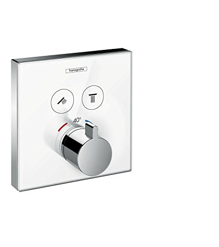 hansgrohe ShowerSelect Glas Unterputz Thermostat, für 2 Funktionen, Weiß/Chrom