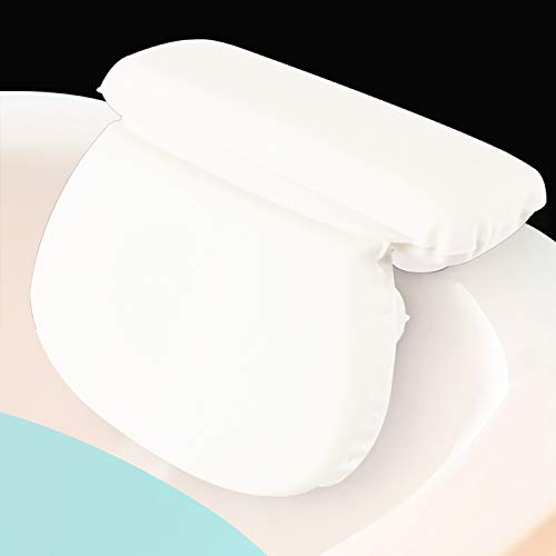 Xtra-Comfort Bath Pillow - Bathtub Spa Cushion For Neck, Shoulder and Head Support - Hot Bath Tub and Jacuzzi Wedge - Soft Waterproof Headrest With Su