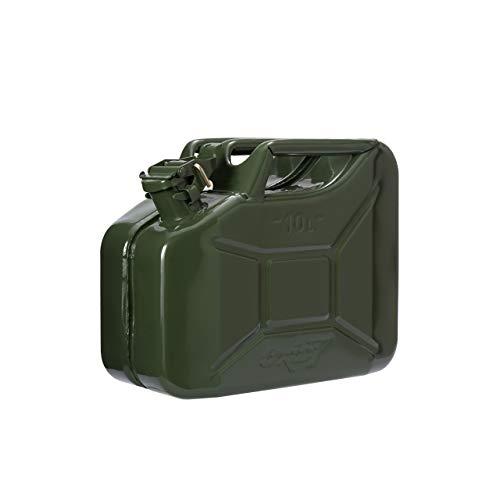 Oxid7® Bidón de gasolina de metal, 10 litros, color verde oliva con autorización de las Naciones Unidas, tipo de construcción probada, para gasolina y diésel.