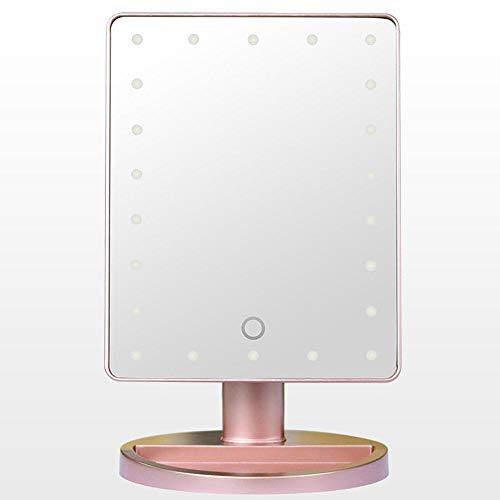 DC Wesley Smart LED Lámpara de Mesa Espejo de Maquillaje Escritorio Sensibilidad táctil Iluminación HD con 10x Lupa de Ventosa Espejo Redondo pequeño (Color : Pink)