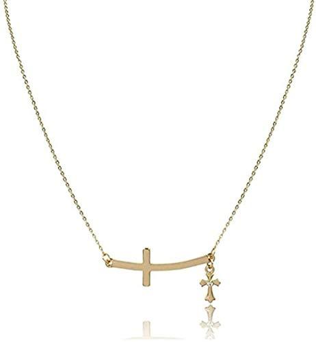 ZPPYMXGZ Co.,ltd Collar Moda con Colgante 2 Cruces enlazadas para Mujer Cruz Decorada Cristal Transparente con Colgante Cruz Collar Horizontal
