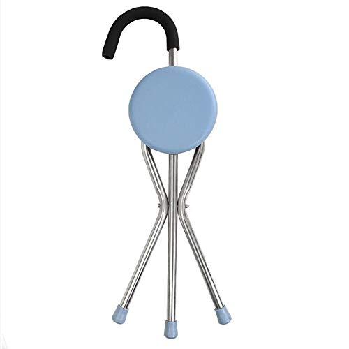 Wandelstok met zitje, steunvoet van 3 voet, stoel van aluminiumlegering, stoel, reiskruk, rieten stoel, voor ouderen