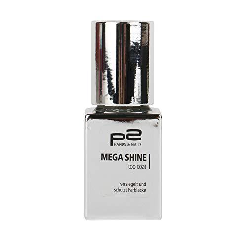 P2 Mega Shine Top Coat Nail Polish Farbe: Transparent Inhalt: 10ml Nagellack der die Lackfarbe mit einem Schutzschild versiegelt.