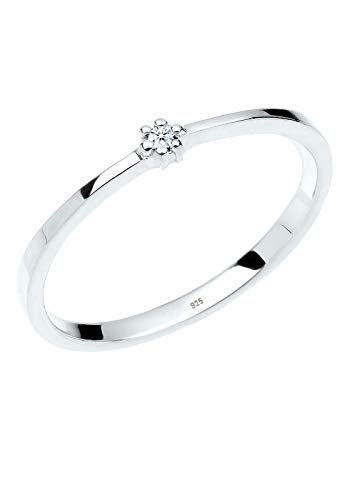 DIAMORE Ring Damen Verlobungsring mit Diamant in 925 Sterling Silber