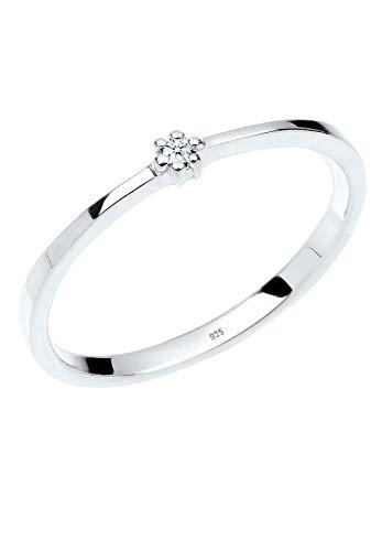 DIAMORE Ring Damen Verlobungsring mit Diamant in 925 Sterling Silber