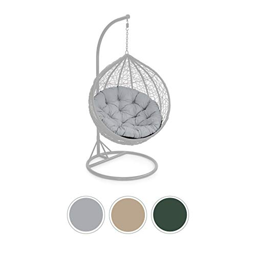 Gardenista | Tufted Outdoor 105cm Round Hanging Swing Chair Seat Cushion| Hammock Indoor Outdoor Seat Pillow | Foam Crumb Filling (Grey)(Does NOT Come With Chair)