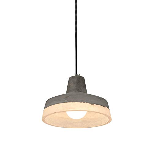 SkyTalent Concrete Dome Pendant Light in Grey Finish, Modern Industrial Ceiling Hanging Light Fixture with White Resin Light Fixture for Kitchen Island Bedroom (10.2 x 5.9inch)