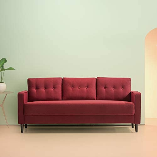 Best Zinus SSMC-RE Mikhail Mid-Century Upholstered 76.4 Inch Sofa / Living Room Couch, Ruby Red Weave