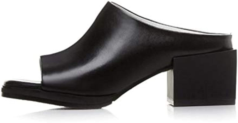 LFDGGX Fisch Mund Wei Frauen Schuhe High Heel Big Größe Leder Consice Sommer Hausschuhe Mode Handwerk Schuhe 5 cm